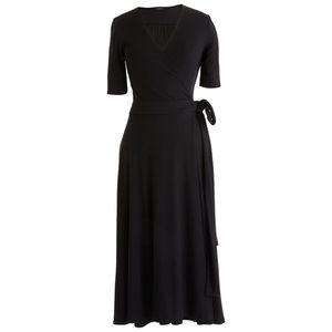 J. Crew Black Knit Wrap Midi Dress J2021
